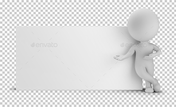 GraphicRiver 3D Small People Next to an Empty Board 9571896