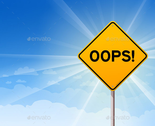 GraphicRiver Oops Yellow Sign on Blue Sky 9572372