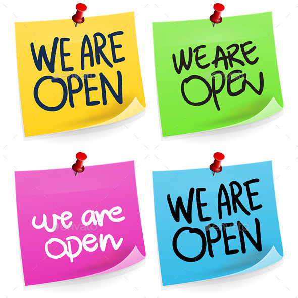 GraphicRiver We Are Open Sticky Note 9572487