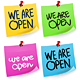 We Are Open Sticky Note - GraphicRiver Item for Sale