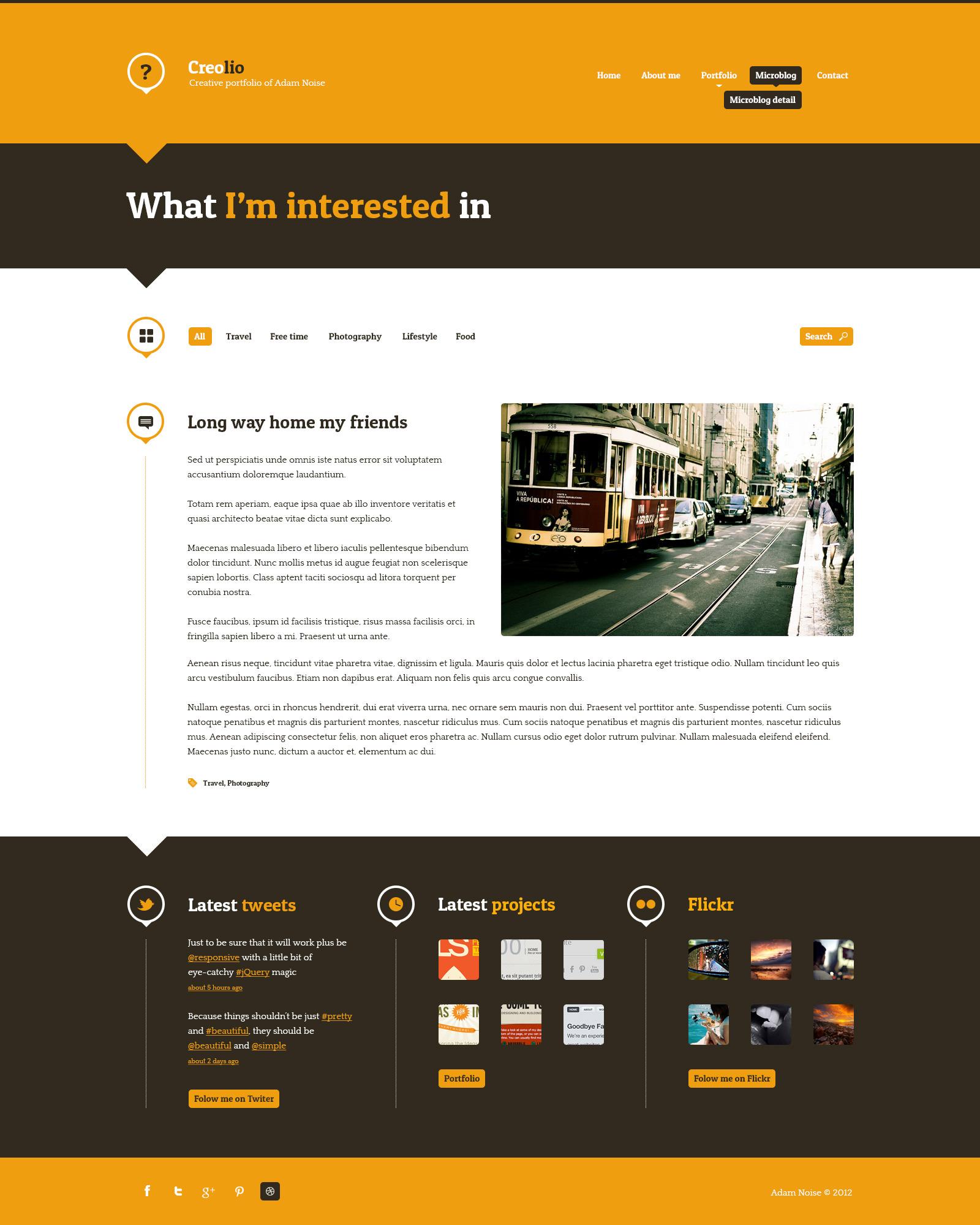 Creolio WP - Personal portfolio and microblog