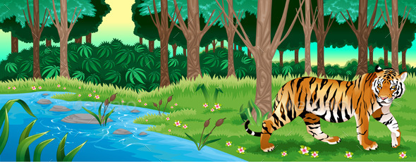 Green Forest with a Tiger