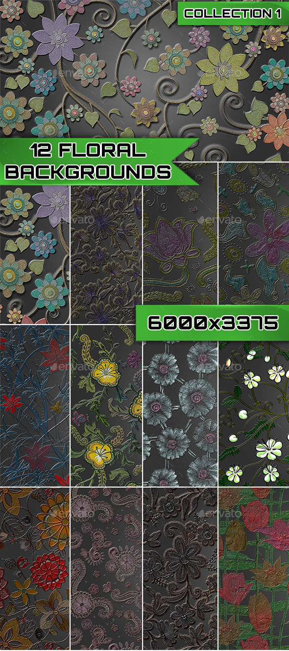 GraphicRiver 12 Floral Backgrounds Collection 1 9572997