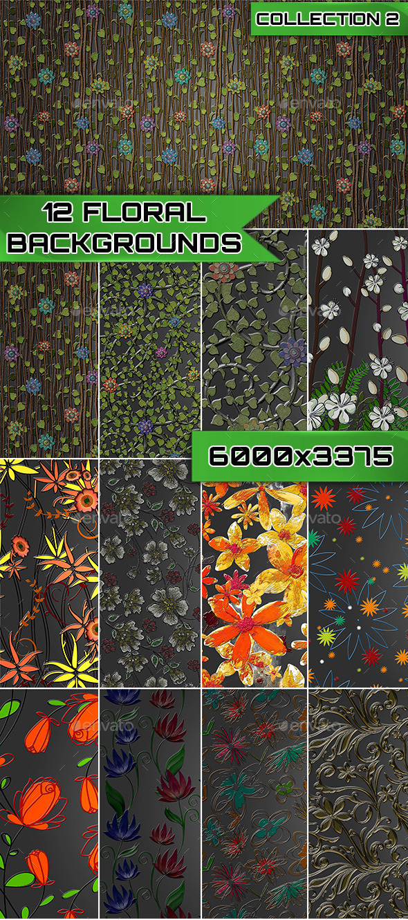 GraphicRiver 12 Floral Backgrounds Collection 2 9573341