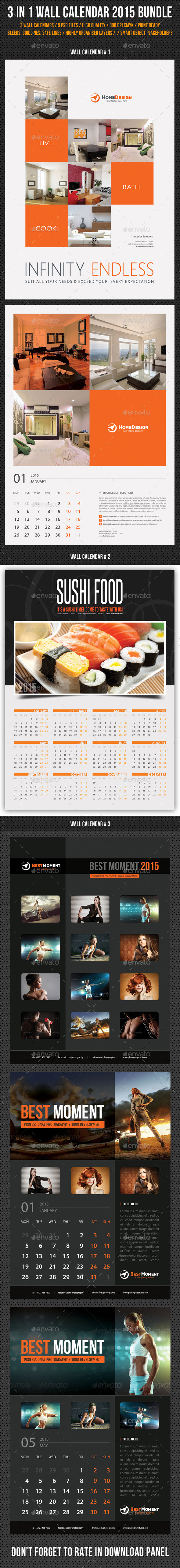 GraphicRiver 3 in 1 Wall Calendar 2015 Bundle V06 9573448