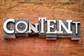 content word in metal type - PhotoDune Item for Sale