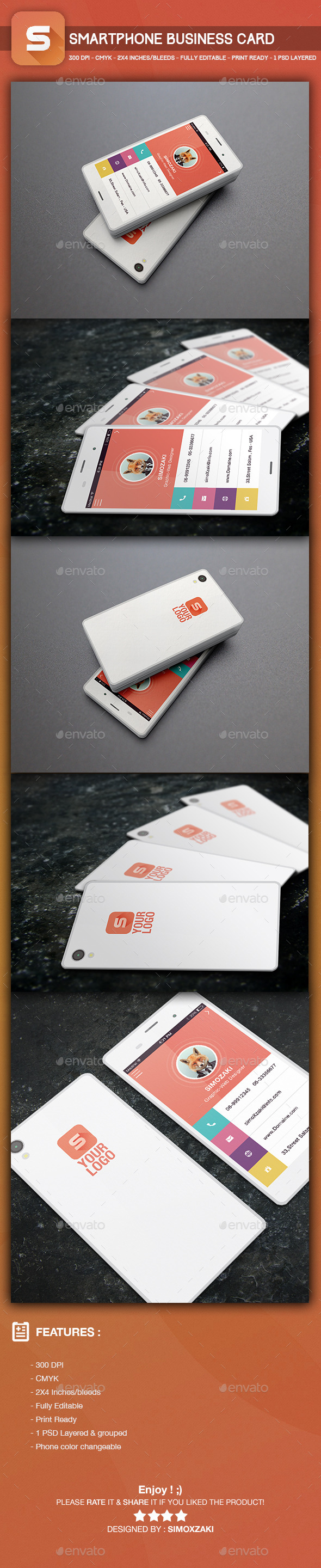 GraphicRiver Smartphone Business Card template 9573497