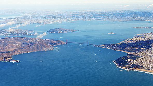 Flying above Golden Gate