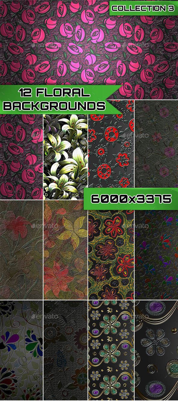 12 Floral Backgrounds Collection 3