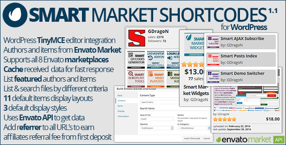 Smart Market Shortcodes is a simple and easy to use plugin for WordPress for embedding items and authors information from any of Envato Marketplaces into your o
