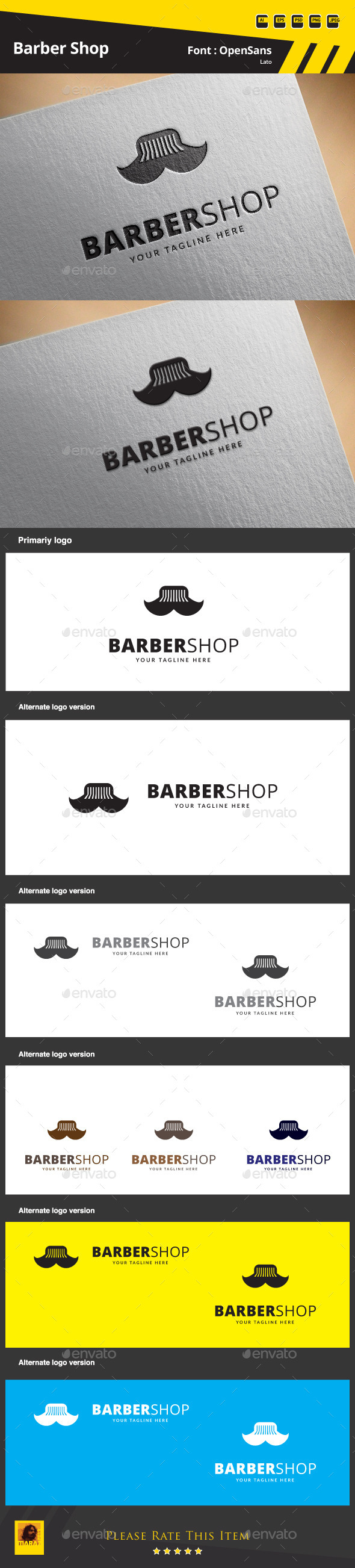 GraphicRiver Barber Shop Logo Template 9574416