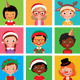 Children in Holiday Christmas Hats - GraphicRiver Item for Sale