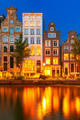 Night city view of Amsterdam canal with dutch houses - PhotoDune Item for Sale