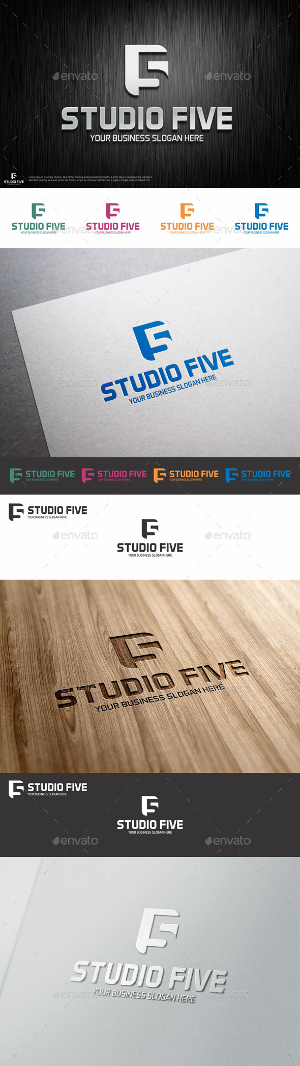 GraphicRiver Studio Five Logo Shape 9575376