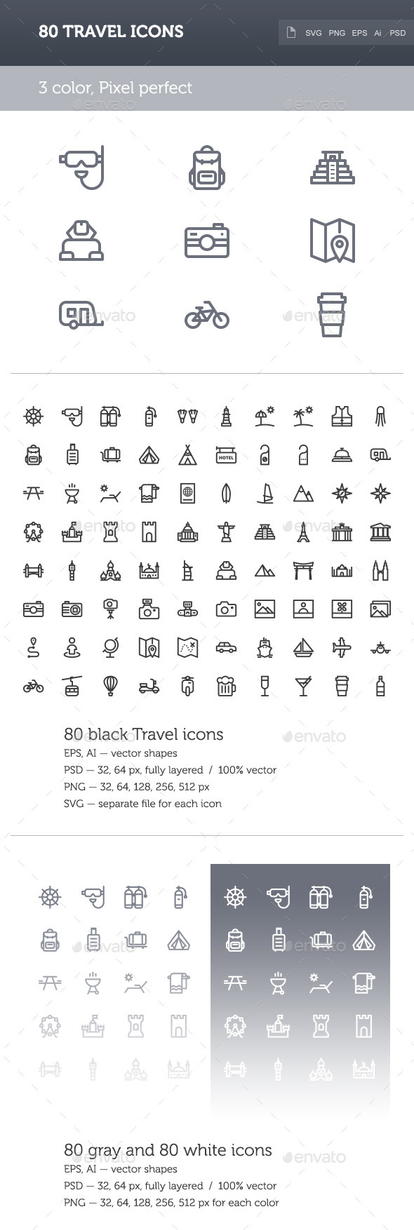 GraphicRiver Travel Icon Set 9575618