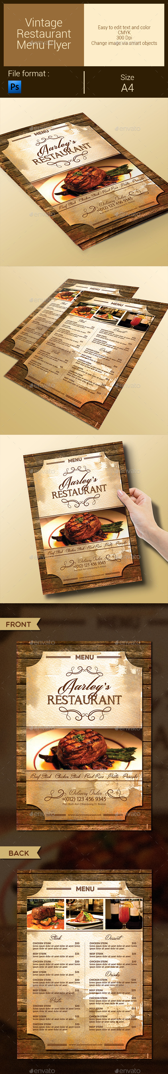GraphicRiver Vintage Restaurant Menu Flyer 9575758