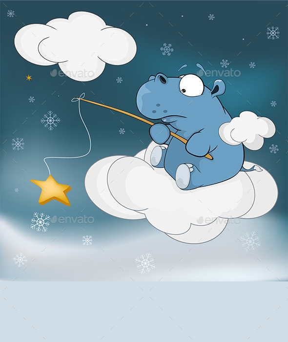 GraphicRiver Little Hippo and Star Cartoon 9575925
