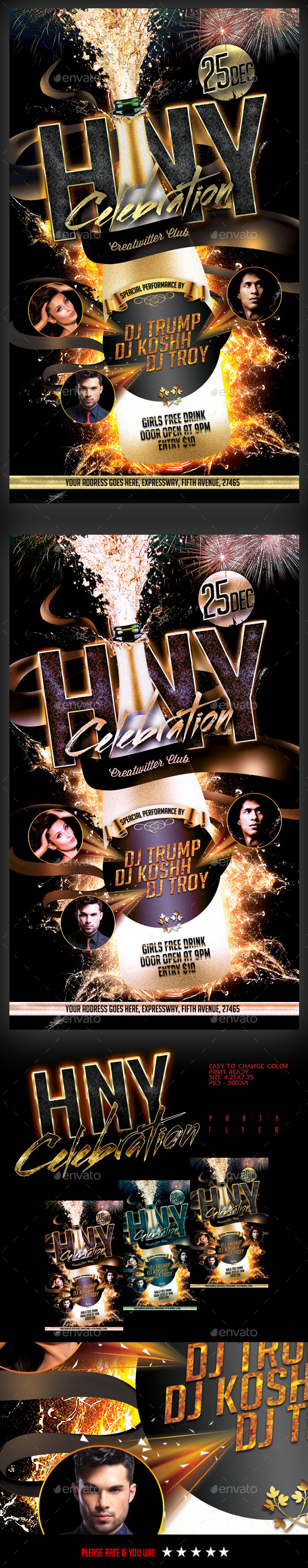 GraphicRiver HNY Celebration Party Flyer 9575932