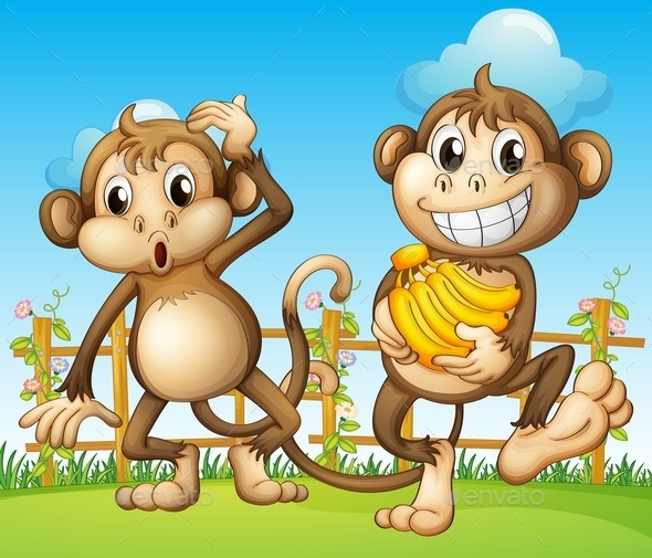 GraphicRiver Two Monkeys with Bananas 9576253