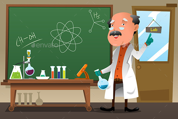 GraphicRiver Chemistry Professor Working at the Lab 9577123