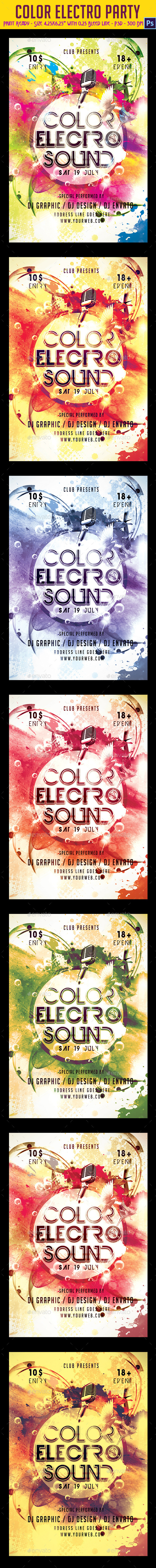 GraphicRiver Color Electro Party Flyer 9577763