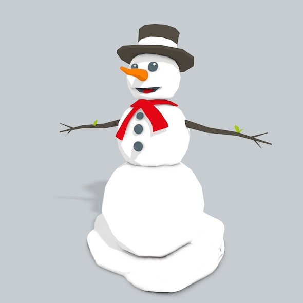 3D Snowman Low Poly - 3DOcean Item for Sale