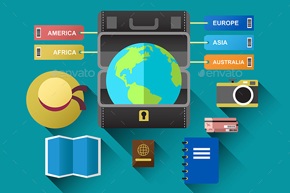 GraphicRiver Suitcase with Globe for Travel Concept 9579170