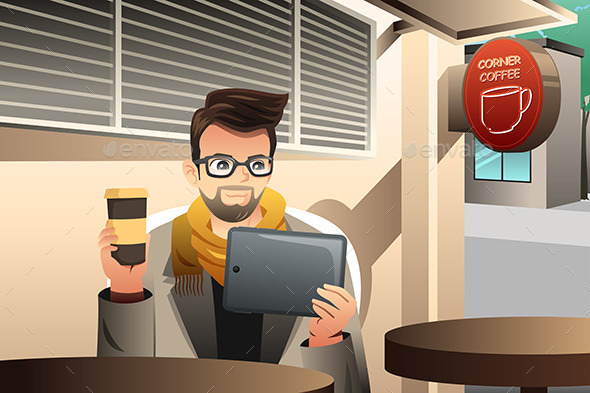 GraphicRiver Young Man Using Tablet in a Cafe 9579954