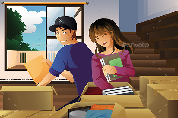 GraphicRiver Young Couple Unpacking Boxes 9579963