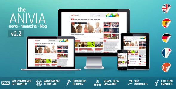 Anivia News Magazine Blog Wordpress Templates