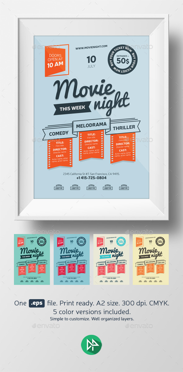 GraphicRiver Movie night poster template 9581327