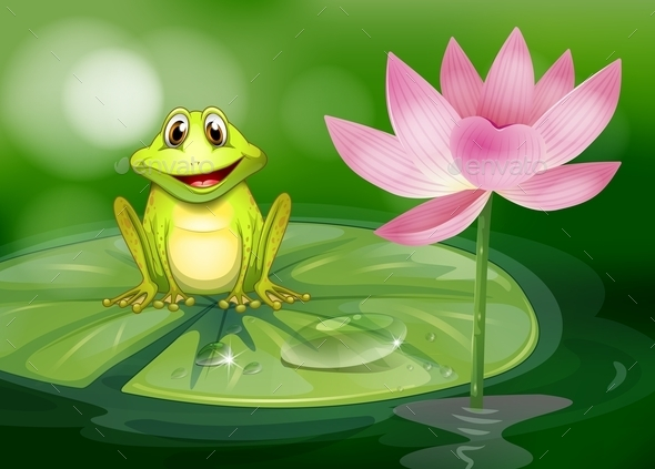 GraphicRiver Frog Beside a Pink Flower at the Pond 9581411