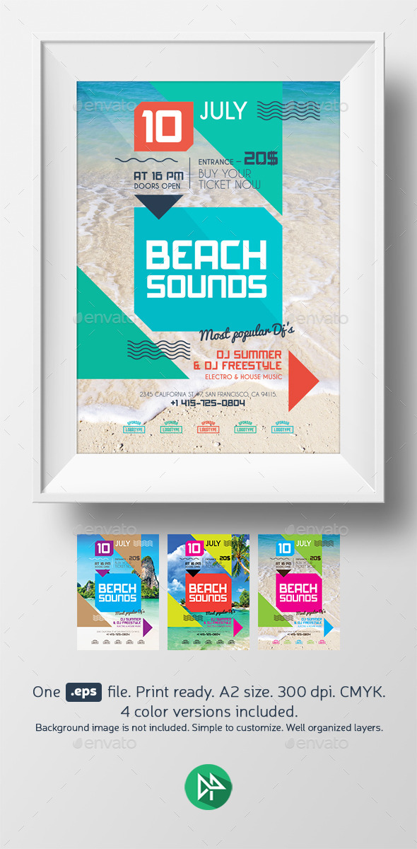 GraphicRiver Beach sounds poster template 9581473