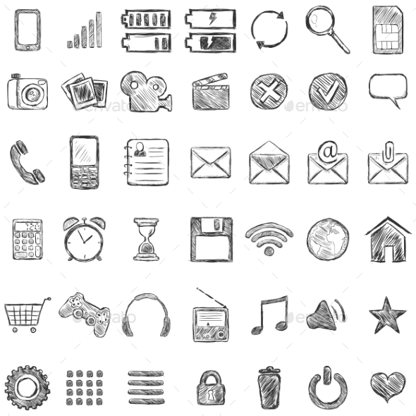 GraphicRiver Set of Sketch Mobile Icons 9581664