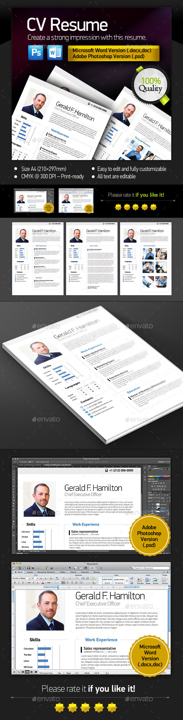 Clean Resume  / CV (Stationery)
