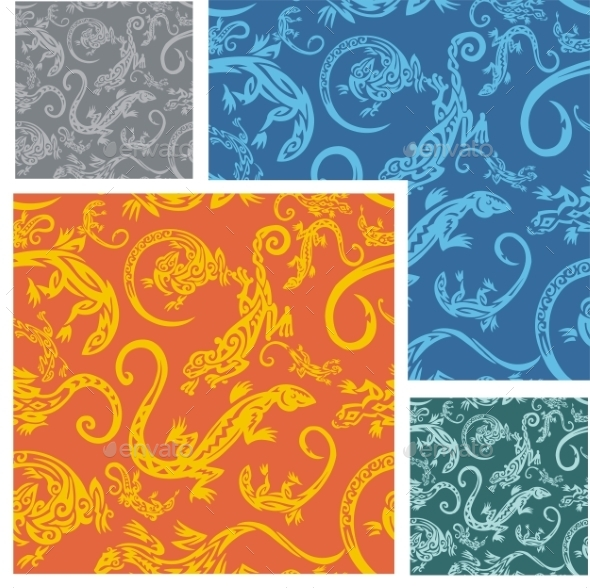GraphicRiver Lizards Seamless Pattern Set 9582017