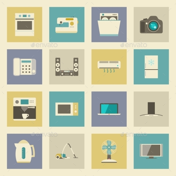 GraphicRiver Electrical Appliances Flat Icons Set 9582039
