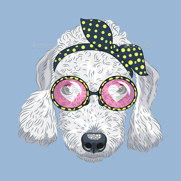 Cartoon Hipster Dog Bedlington Terrie