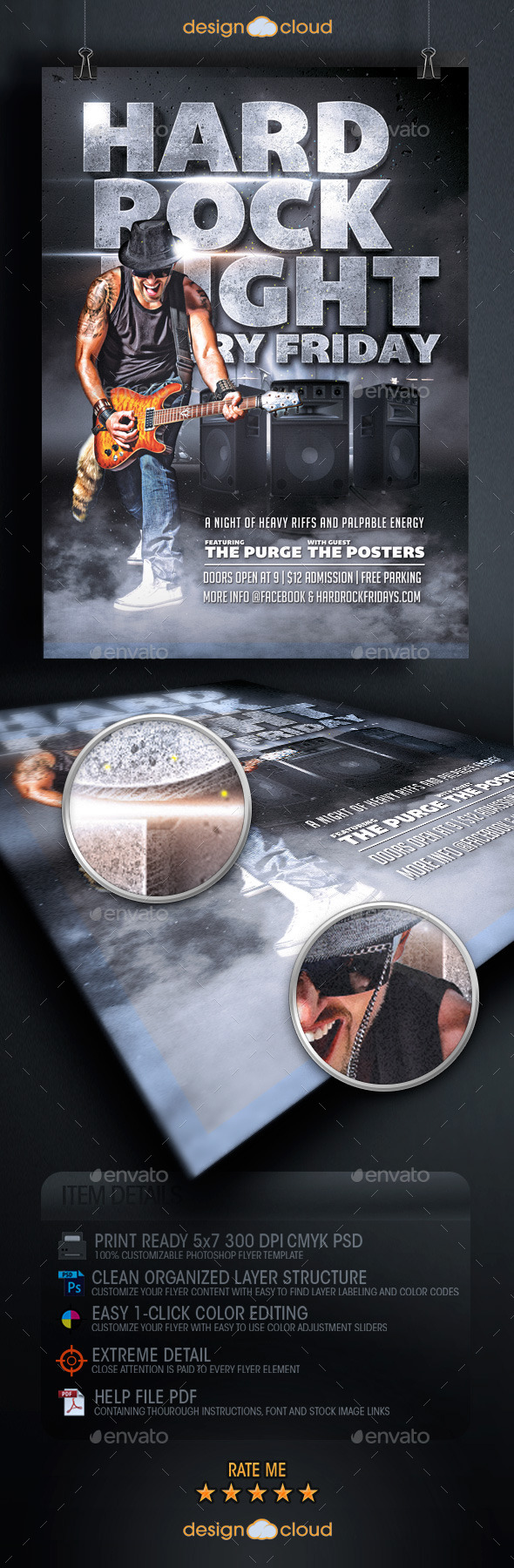 GraphicRiver Hard Rock Night Flyer Template 9582595