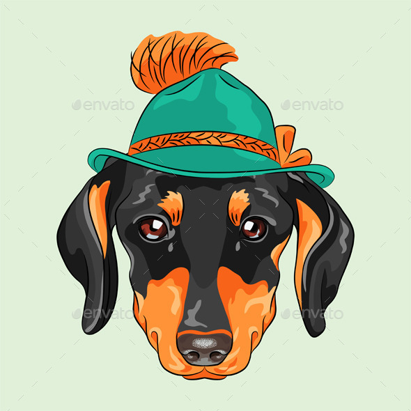 GraphicRiver Cartoon Hipster Dog Dachshund 9583136
