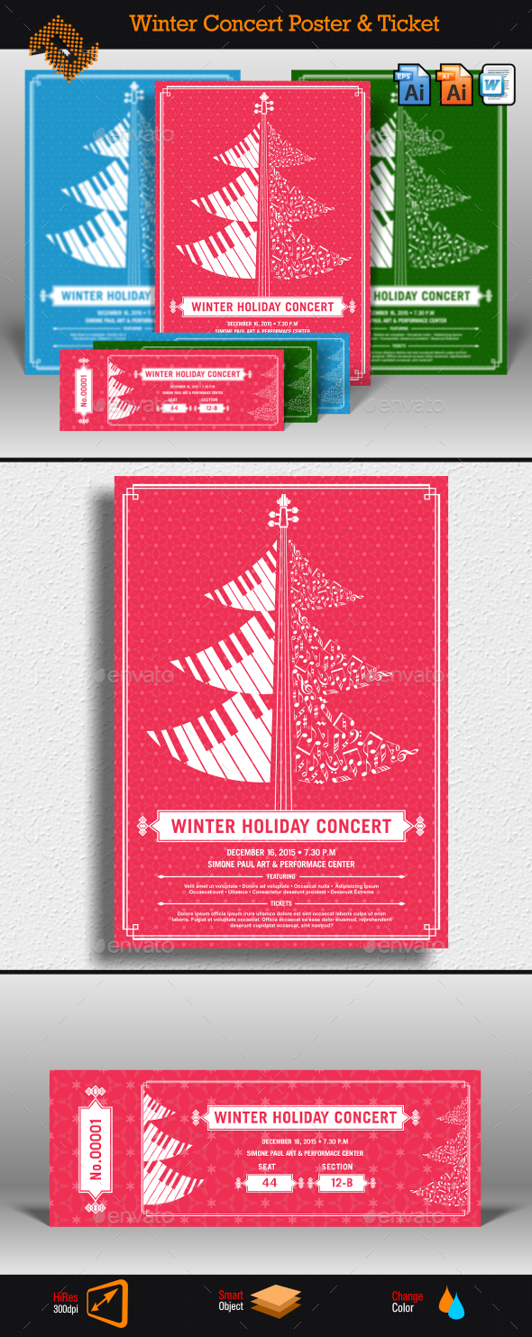 GraphicRiver Winter Holiday Concert Flyer & Ticket 9583166