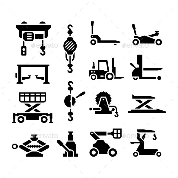 GraphicRiver Set Icons of Lifting Equipment 9583696