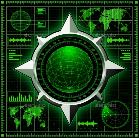 GraphicRiver Radar Screen with Globe 9583956