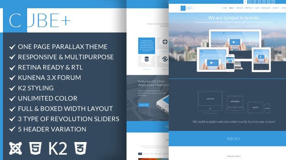 ThemeForest Cube& One Page Parallax Joomla Theme 9584020