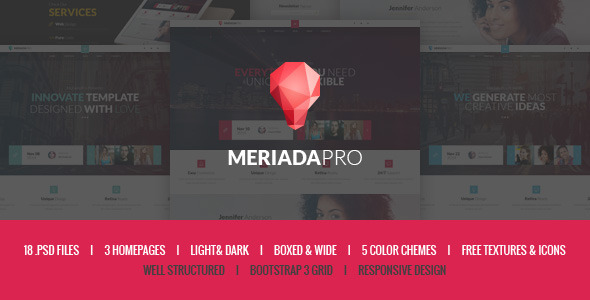 ThemeForest Meriada Pro Responsive Corporate PSD Template 9584029