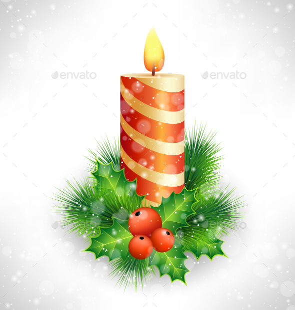 Christmas Candle with Holly Pine
