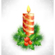 Christmas Candle with Holly Pine - GraphicRiver Item for Sale