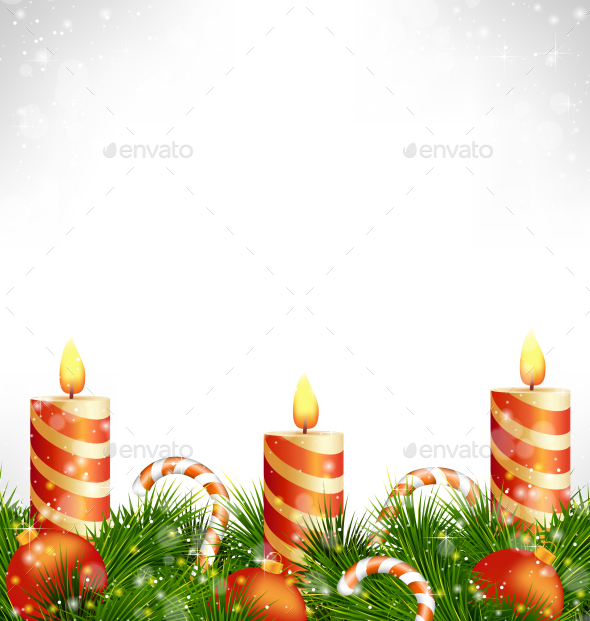 GraphicRiver Christmas Candles with Balls Candy Canes and Pine 9584101