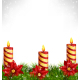 Christmas Candle with Pine Branches and Poinsettia - GraphicRiver Item for Sale