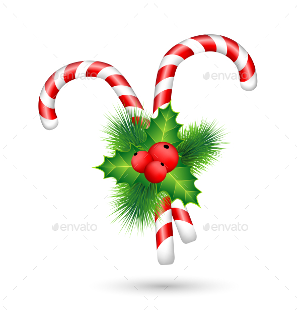 GraphicRiver Two Candy Canes with Holly 9584145